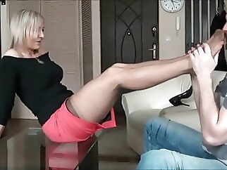 milf blonde stockings