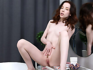skinny masturbation red head
